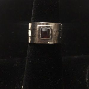 3 Stackable Garnet and Sterling Silver Rings